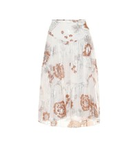 See By Chloe Floral Silk And Cotton Midi Skirt White
