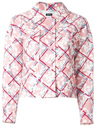 Jil Sander Navy Checked Floral Print Jacket Pink And Purple