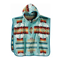 Pendleton Chief Joseph Hooded Children's Towel Aqua