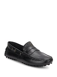 Saks Fifth Avenue Perforated Paneled Leather Loafers Black