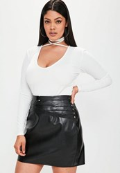 Missguided Plus Size Black Belted Detail Faux Leather Mini Skirt