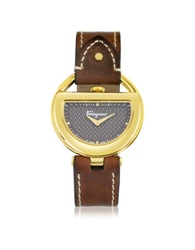 Salvatore Ferragamo Buckle Collection Gold Ip Stainless Steel Case And Brown Leather Strap Women's Watch