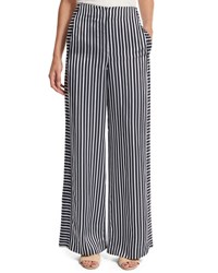 Elizabeth And James Jones High Rise Striped Wide Leg Trousers Blue