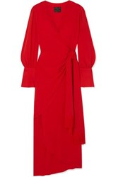 Mother Of Pearl Velda Fringed Lyocell Wrap Dress Red