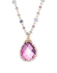 Lonna And Lilly Reconstituted Howlite Tear Drop Pendant Necklace Pink