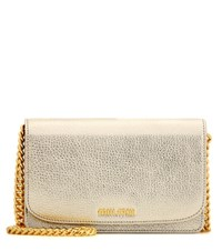 Miu Miu Leather Shoulder Bag Gold