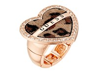 Guess Pave Framed Logo Leopard Heart Stretch Ring Gold Crystal Leopard Ring