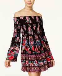 American Rag Off The Shoulder Floral Print Fit And Flare Dress Only At Macy's Floral Combo