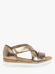 Gabor Promise Wide Fit Low Wedge Sandals Bronze