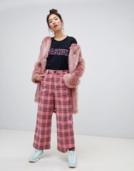 Lazy Oaf Corduroy Check Wide Leg Trousers Pink