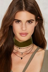 More Or Less Layered Choker Olive Green