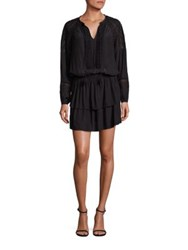 Ramy Brook Whitney Crochet Detailed Long Sleeve Dress Black