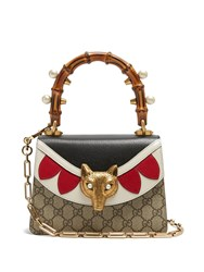 Gucci Broche Gg Supreme Bamboo Handle Cross Body Bag Black Red