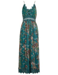 Zimmermann Teal Crinkle Silk Tropicale Jumpsuit Green