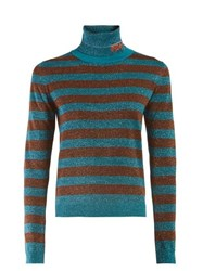 Prada Logo Intarsia Metallic Striped Sweater Blue Stripe