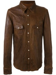 Dolce And Gabbana Leather Shirt Brown