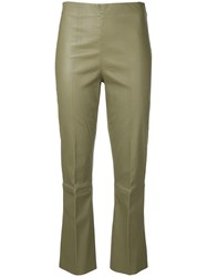 By Malene Birger Florentina Stretch Fit Leather Trousers Brown