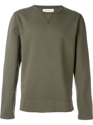 Officine Generale Faded Crew Neck Sweatshirt Green