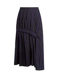 Yohji Yamamoto Distressed Dot Gathered Cotton Skirt Navy