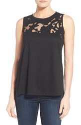 Women's Gibson Cutout Yoke Detail Sleeveless Knit Top