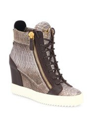 Giuseppe Zanotti Snakeskin Embossed Leather High Top Wedge Sneakers Desert