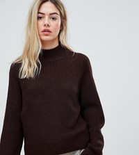 Micha Lounge Boxy Jumper With High Neck Brown