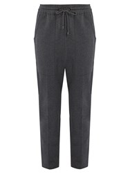 Brunello Cucinelli Monili Embellished Cotton Blend Track Pants Charcoal