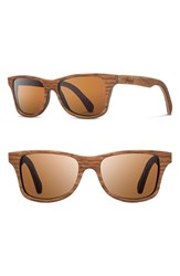 Women's Shwood 'Canby' 54Mm Polarized Wood Sunglasses Walnut Brown Polar