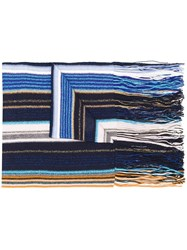 M Missoni Striped Knitted Scarf Blue
