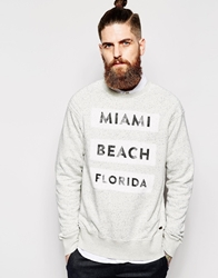 Scotch And Soda Sweatshirt With Miami Beach Florida Print 0Grey