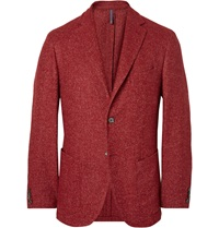 Incotex Red Slim Fit Herringbone Wool Blend Blazer