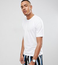Selected Homme Drop Shoulder T Shirt In Heavy Cotton Bright White