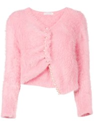 Christian Dior Vintage Pearl Buttons Asymmetric Cardigan Pink And Purple
