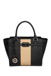 V1969 Italia Kerrington Vegan Leather Stripe Satchel Black