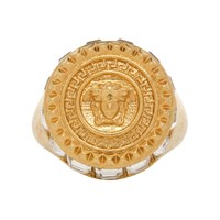 Versace Gold Crystal Medusa Round Ring