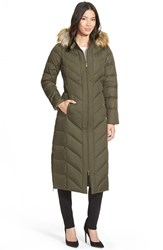 Women's Larry Levine Faux Fur Trim Down And Feather Fill Maxi Coat Military Green