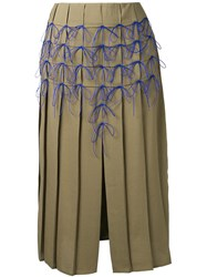 Marco De Vincenzo Bow Applique Pleated Skirt Women Polyester 42 Green