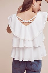 Anthropologie Solenne Tiered Blouse Ivory