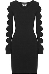 Boutique Moschino Cutout Bow Detailed Stretch Knit Mini Dress Black