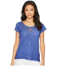 Tribal Jersey Slub Cap Sleeve Embroidered Top Blue Wave Clothing