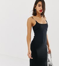 River Island Bodycon Midi Dress With Embellished Straps In Black