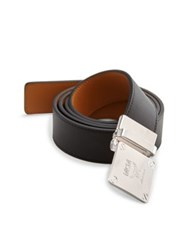 Mcm Adjustable Buckle Leather Belt Black