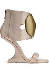 Rick Owens Woman Disc Embellished Metallic Textured Leather Wedge Sandals Pastel Pink