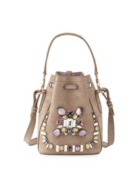 Ralph Lauren Small Beaded Suede Bucket Bag Taupe