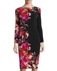 Maggy London Floral Print Long Sleeve Midi Dress Blk Red