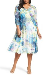 Komarov Plus Size Women's Floral Print A Line Dress
