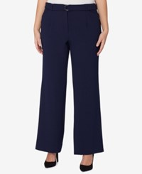 Tahari By Arthur S. Levine Asl Plus Size Belted Trousers Navy
