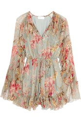 Zimmermann Mercer Floating Ruffled Floral Print Silk Chiffon Playsuit Light Denim