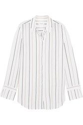 Equipment Holly Striped Washed Silk Shirt White