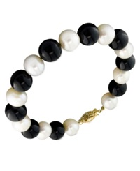 Macy's Cultured Freshwater Pearl 7 1 2 8 1 2Mm And Onyx 9Mm Bracelet In 14K Gold